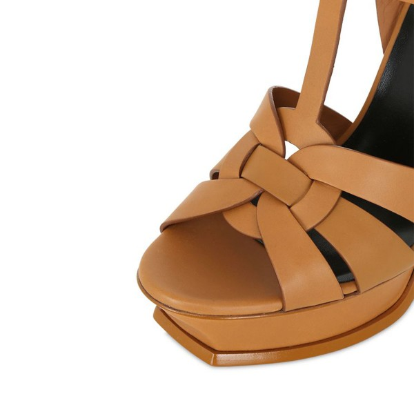 Tan Heels T Strap Platform Stiletto Heel Sandals for Office Lady image 4