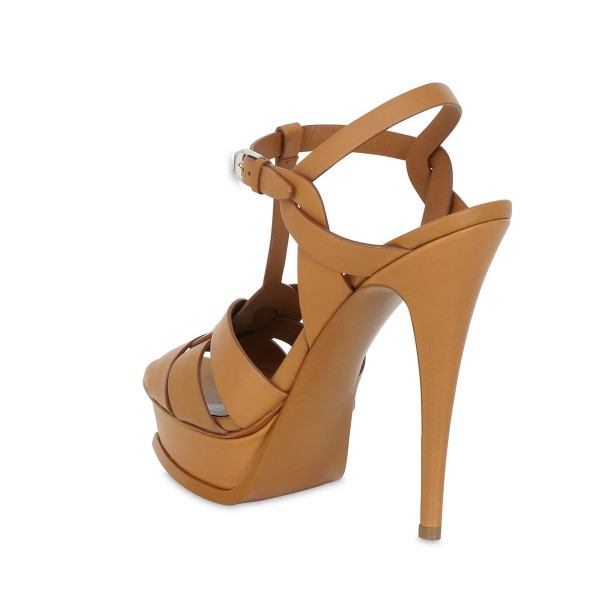 Tan Heels T Strap Platform Stiletto Heel Sandals for Office Lady image 5