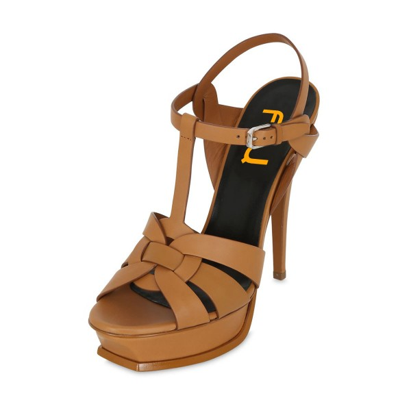 Tan Heels T Strap Platform Stiletto Heel Sandals for Office Lady image 1
