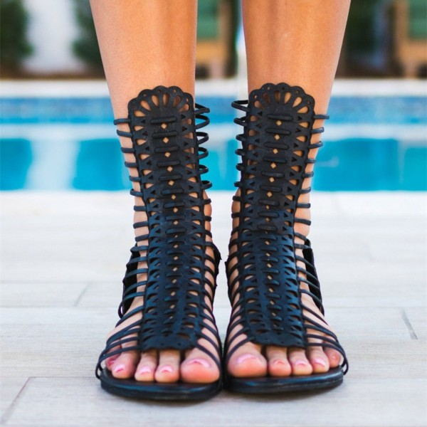 Black Gladiator Heels Mid-calf Open Toe Wedge Heels Sandals image 2