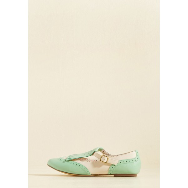 Mint Green Women's Oxfords Fringe Hollow out Comfortable Flats image 2