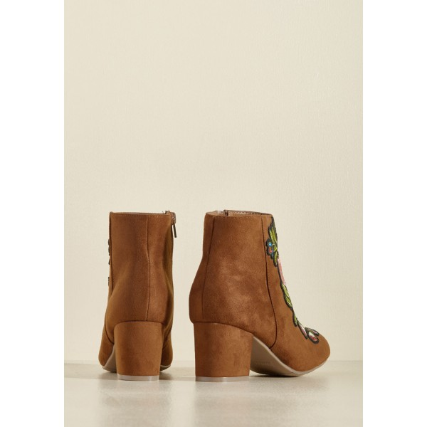 Women's Brown Chunky Heels  Embroidered Ankle Vintage Boots image 3