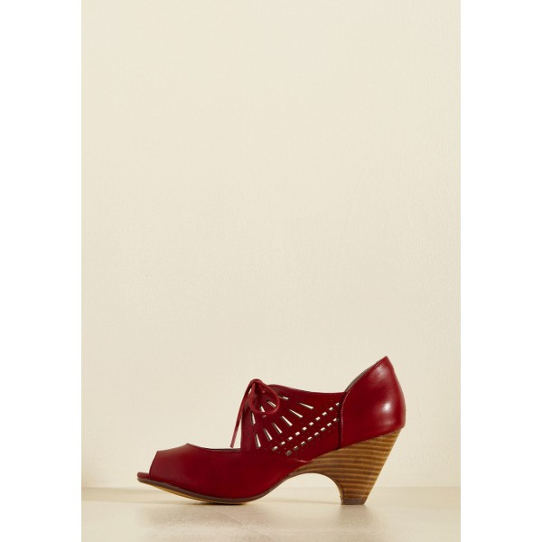 Burgundy Heels Lace up Peep Toe Laser Cut Cone Heel Vintage Shoes image 4