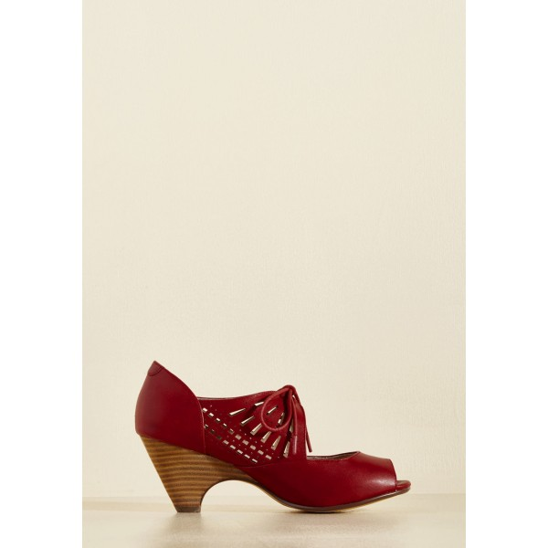Burgundy Heels Lace up Peep Toe Laser Cut Cone Heel Vintage Shoes image 5