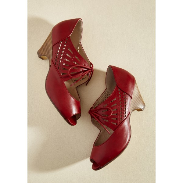 Burgundy Heels Lace up Peep Toe Laser Cut Cone Heel Vintage Shoes image 2
