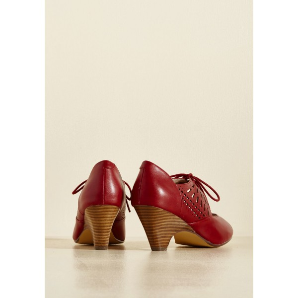 Burgundy Heels Lace up Peep Toe Laser Cut Cone Heel Vintage Shoes image 3