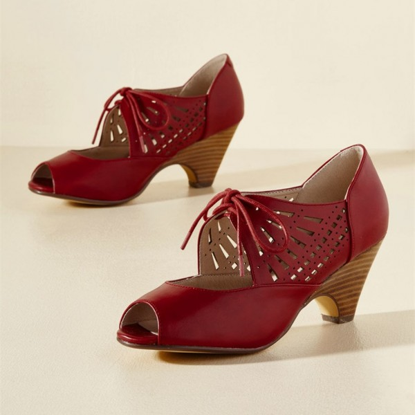 Burgundy Heels Lace up Peep Toe Laser Cut Cone Heel Vintage Shoes image 1