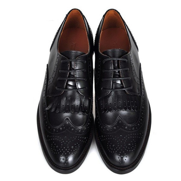 Black Women's Oxfords Fringe Lace-up Vintage Shoes image 1