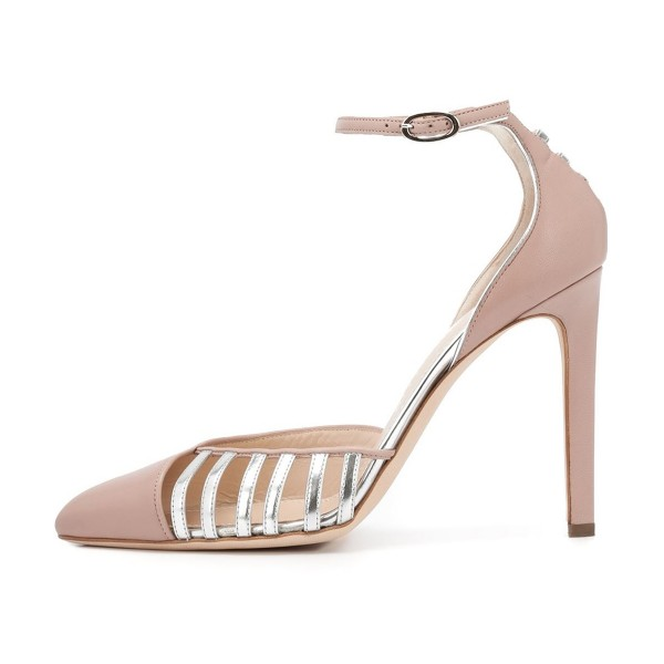 Women's Nude Pointy Toe Ankle Strap Heels Hollow Out Stiletto Heel Pumps image 2