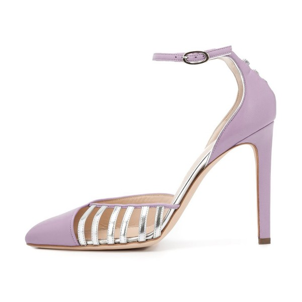 Women's Orchid Pointy Toe Ankle Strap Heels Hollow Out Stiletto Heel Pumps image 3