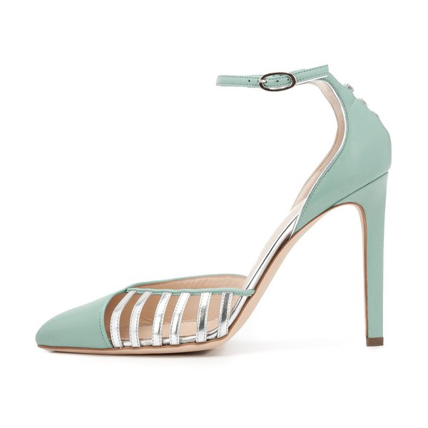 Women's Light Green Ankle Strap Heels Hollow Out Stiletto Heel Pumps image 2
