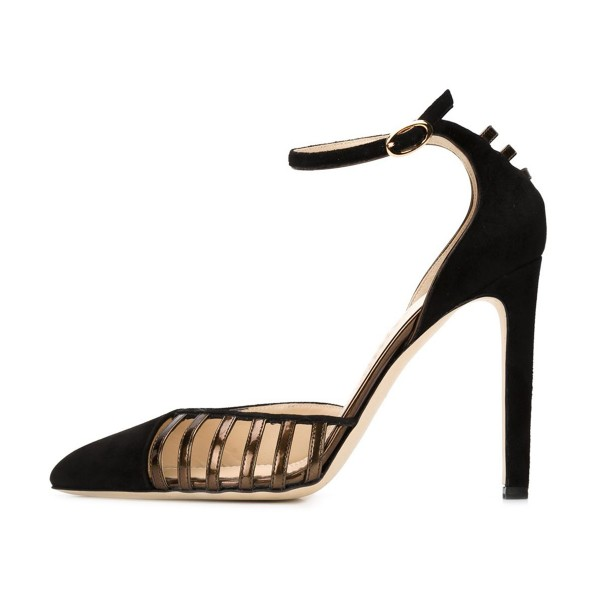 Women's Leila Black pointy Toe Ankle Strap Heels Hollow Out Stiletto Heel Pumps image 2