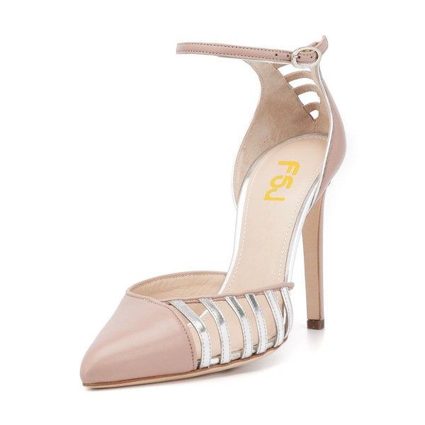 Women's Nude Pointy Toe Ankle Strap Heels Hollow Out Stiletto Heel Pumps image 1