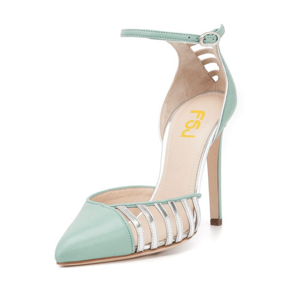 Women's Light Green Ankle Strap Heels Hollow Out Stiletto Heel Pumps image 1