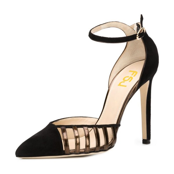 Women's Leila Black pointy Toe Ankle Strap Heels Hollow Out Stiletto Heel Pumps image 1