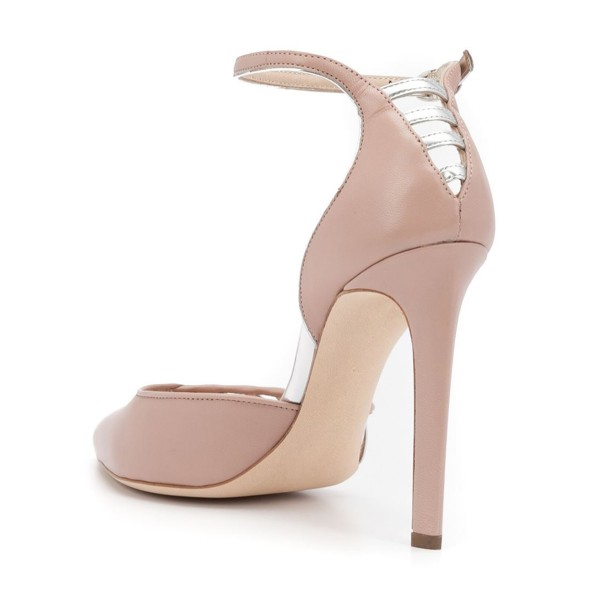 Women's Nude Pointy Toe Ankle Strap Heels Hollow Out Stiletto Heel Pumps image 3