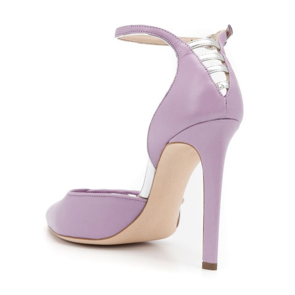 Women's Orchid Pointy Toe Ankle Strap Heels Hollow Out Stiletto Heel Pumps image 2