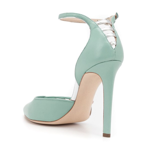 Women's Light Green Ankle Strap Heels Hollow Out Stiletto Heel Pumps image 3