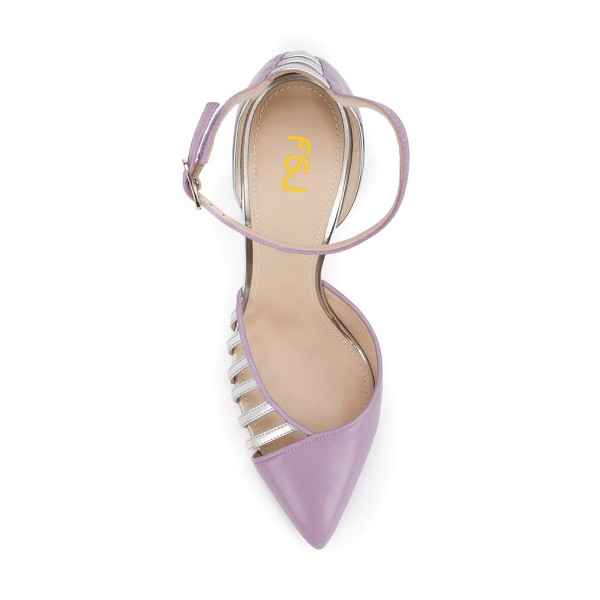 Women's Orchid Pointy Toe Ankle Strap Heels Hollow Out Stiletto Heel Pumps image 4