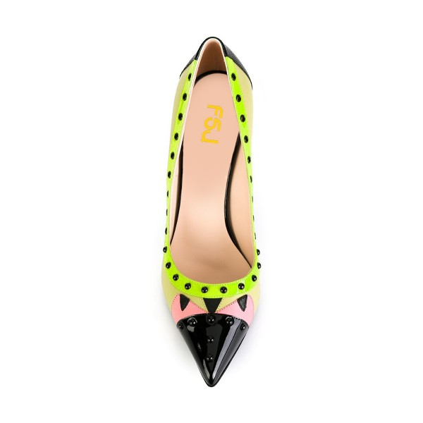 Lime Studs Shoes Pointy Toe Stiletto Heel Pumps for Office Lady image 4