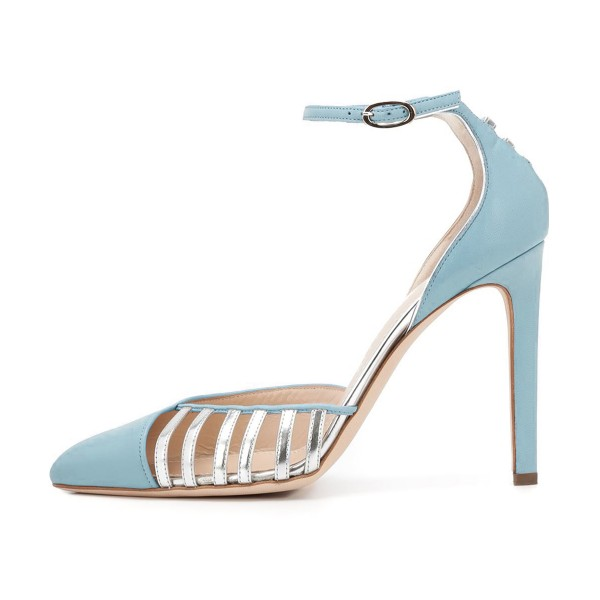 Women's Light Blue Pointy Toe Ankle Strap Heels Hollow Out Stiletto Heel Pumps  image 2