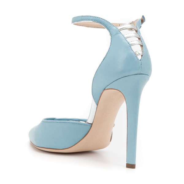 Women's Light Blue Pointy Toe Ankle Strap Heels Hollow Out Stiletto Heel Pumps  image 3
