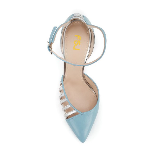 Women's Light Blue Pointy Toe Ankle Strap Heels Hollow Out Stiletto Heel Pumps  image 4