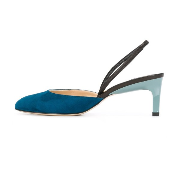 Teal Shoes Round Toe Slingback Pumps Kitten Heel Suede Shoes image 2