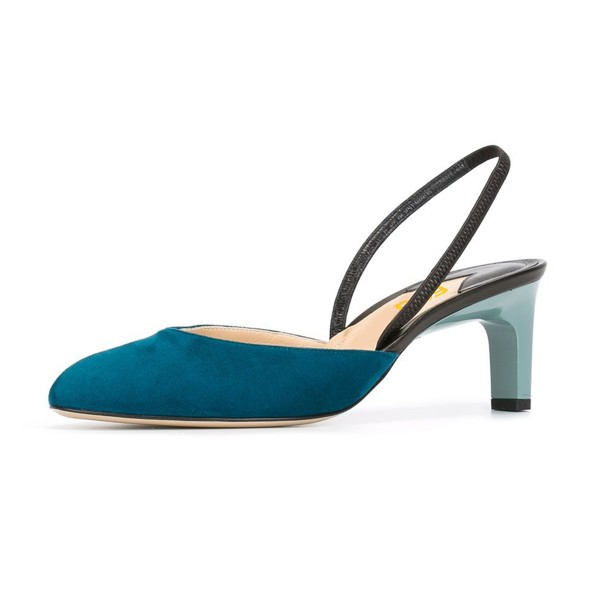 Teal Shoes Round Toe Slingback Pumps Kitten Heel Suede Shoes image 1