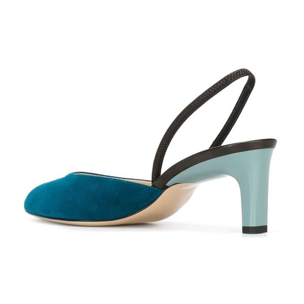 Teal Shoes Round Toe Slingback Pumps Kitten Heel Suede Shoes image 3