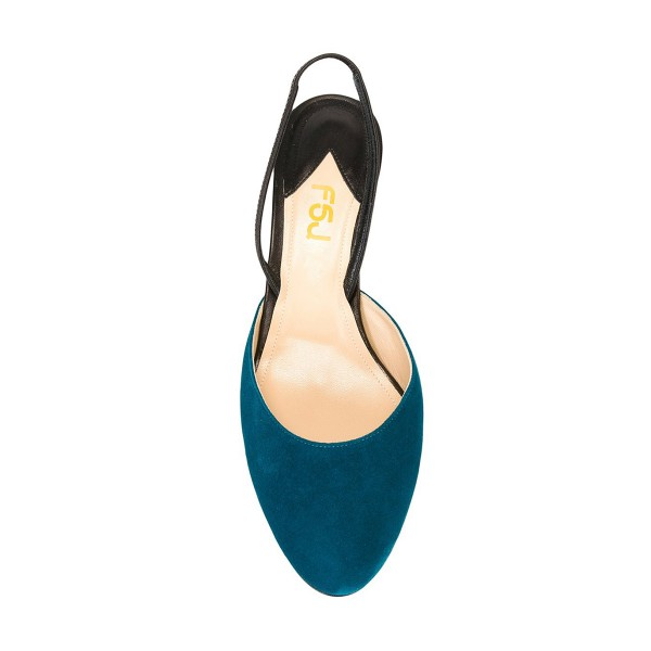 Teal Shoes Round Toe Slingback Pumps Kitten Heel Suede Shoes image 4