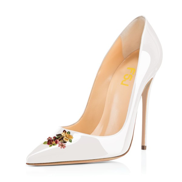 Women's White Floral Office Heels Pointed Toe Stiletto Heels Pumps image 1