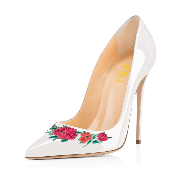 Women's White Floral Rose Office Heels Pointy Toe Stiletto Heels Pumps image 1