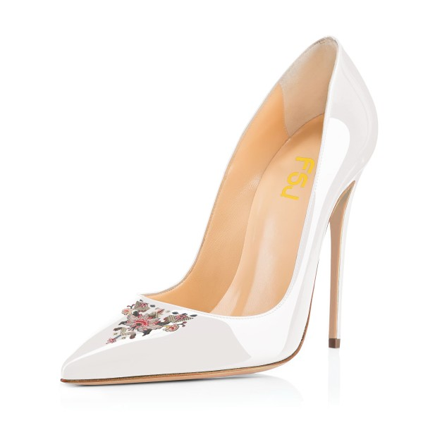 Women's White Pointy Toe Floral Office Heels Stiletto Heels Pumps image 1