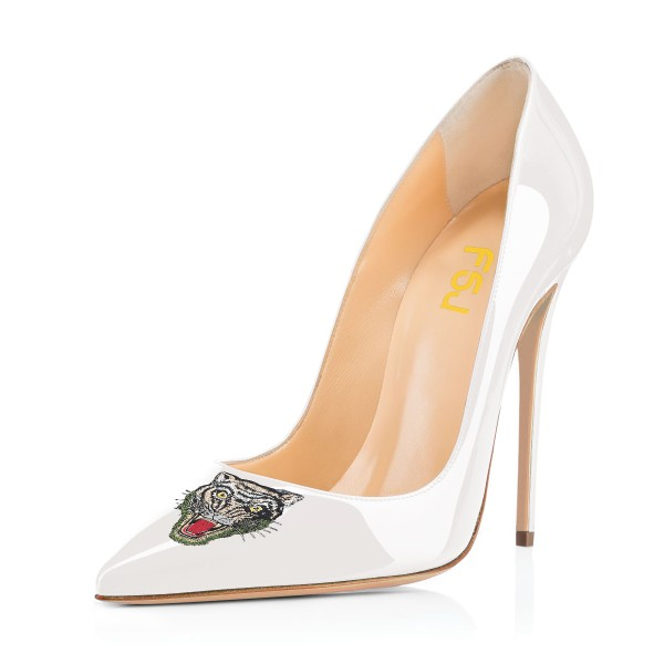 online retailer great fit buying new White 4 Inch Heel Patent Leather Pumps for Office Ladies for Work ...