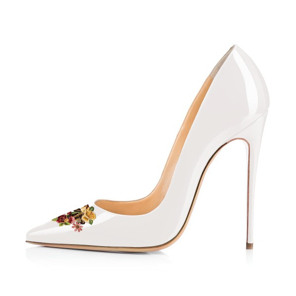 Women's White Floral Office Heels Pointed Toe Stiletto Heels Pumps image 3