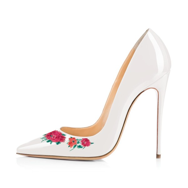 Women's White Floral Rose Office Heels Pointy Toe Stiletto Heels Pumps image 3