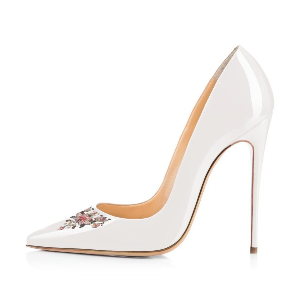 Women's White Pointy Toe Floral Office Heels Stiletto Heels Pumps image 3