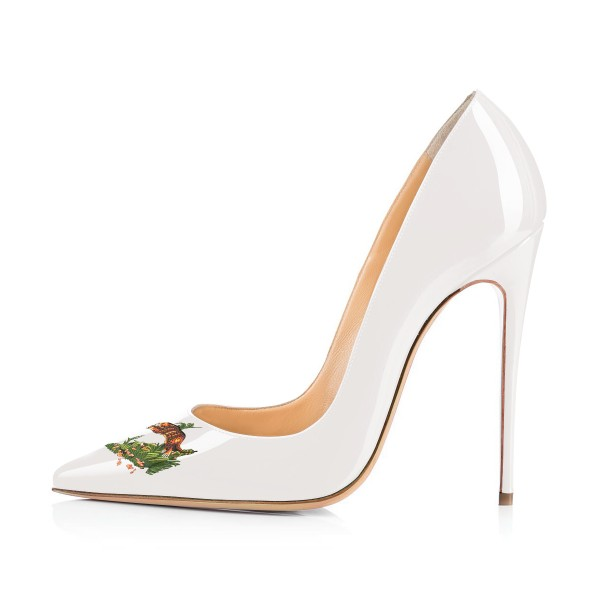 Women's White Leopard In The Woods Floral Office Heels Pointy Toe Stiletto Heels Pumps image 3