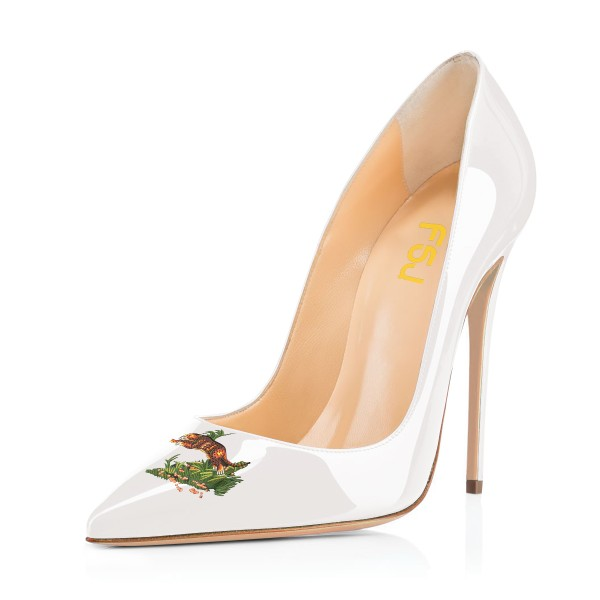 Women's White Leopard In The Woods Floral Office Heels Pointy Toe Stiletto Heels Pumps image 1