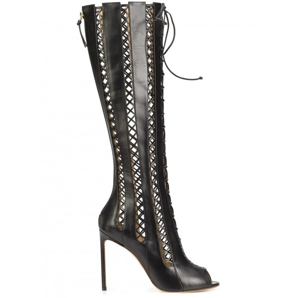 Women's Black Hollow-out Knee-high Stiletto Heel Gladiator Boots image 2