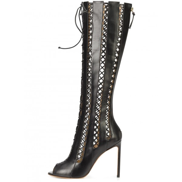 Women's Black Hollow-out Knee-high Stiletto Heel Gladiator Boots image 1