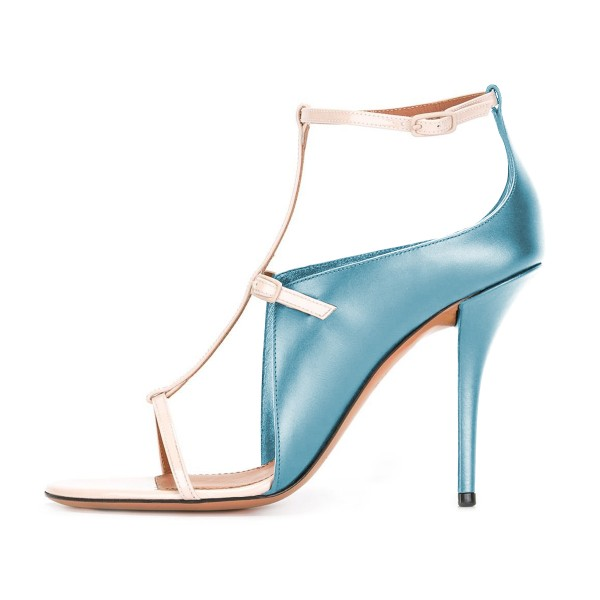 Women's Light Blue T Strap Stiletto Heel Ankle Strap Sandals  image 2