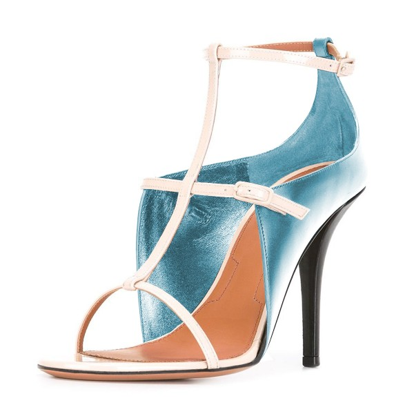 Women's Light Blue T Strap Stiletto Heel Ankle Strap Sandals  image 1