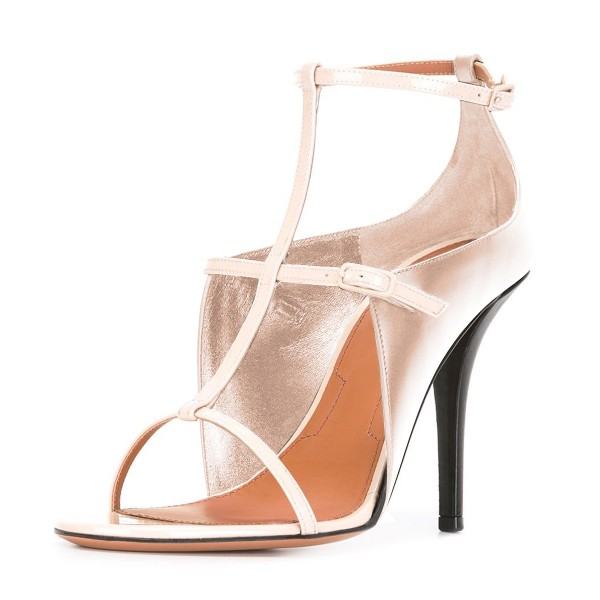 Women's Nude T Strap Stiletto Heel Ankle Strap Sandals image 1