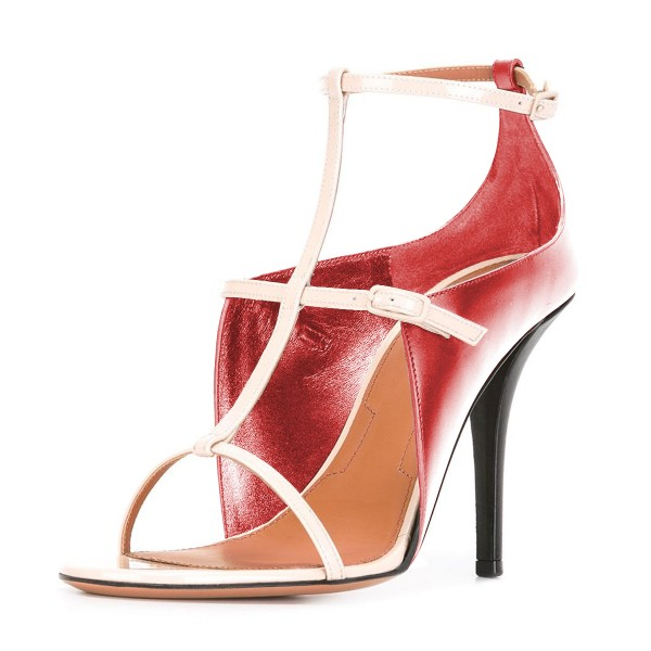 Women's Maroon T Strap Stiletto Heels Open Toe Ankle Strap Sandals image 1