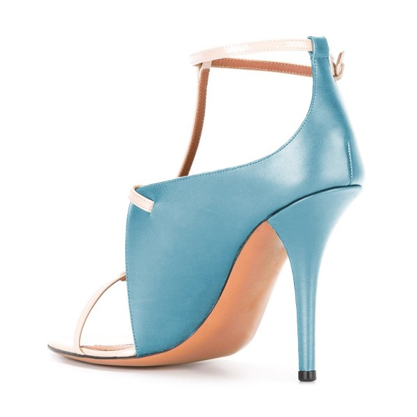 Women's Light Blue T Strap Stiletto Heel Ankle Strap Sandals  image 3
