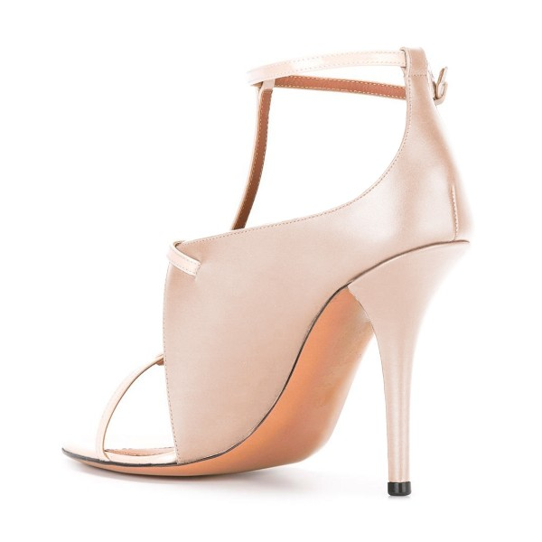 Women's Nude T Strap Stiletto Heel Ankle Strap Sandals image 3
