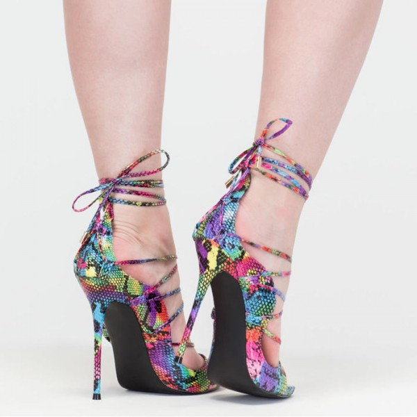 Multi-color Strappy Sandals Lace up Stiletto Heel Sexy Shoes image 4