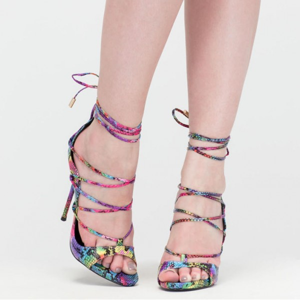Multi-color Strappy Sandals Lace up Stiletto Heel Sexy Shoes image 2